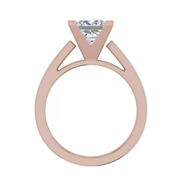 Cathedral 1 Carat VS1 Clarity H Color Princess Cut Diamond Engagement Ring Rose Gold 2