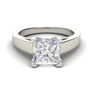 Cathedral 1 Carat VS1 Clarity H Color Princess Cut Diamond Engagement Ring White Gold 3