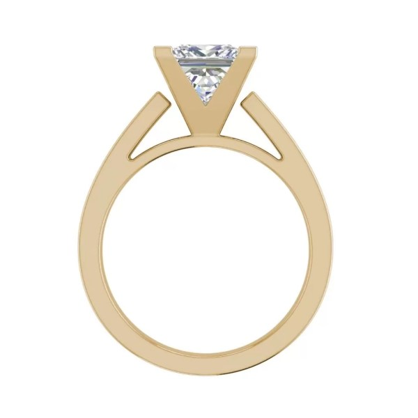Cathedral 1 Carat VS1 Clarity H Color Princess Cut Diamond Engagement Ring Yellow Gold 3