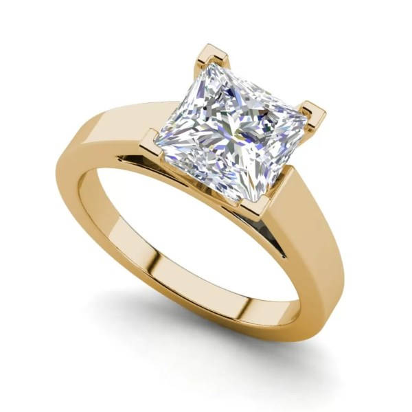 Cathedral 1 Carat VS1 Clarity H Color Princess Cut Diamond Engagement Ring Yellow Gold