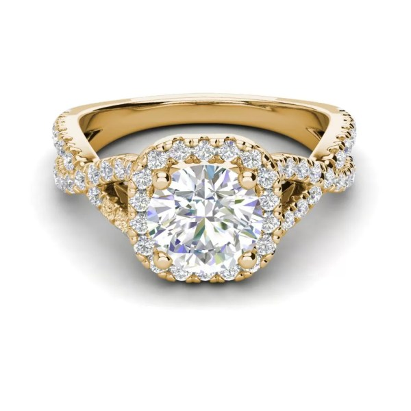 Infinity Halo 2.9 Carat VS1 Clarity H Color Round Cut Diamond Engagement Ring Yellow Gold 3