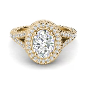 Pave Halo 2.1 Carat VS2 Clarity F Color Oval Cut Diamond Engagement Ring Yellow Gold 3