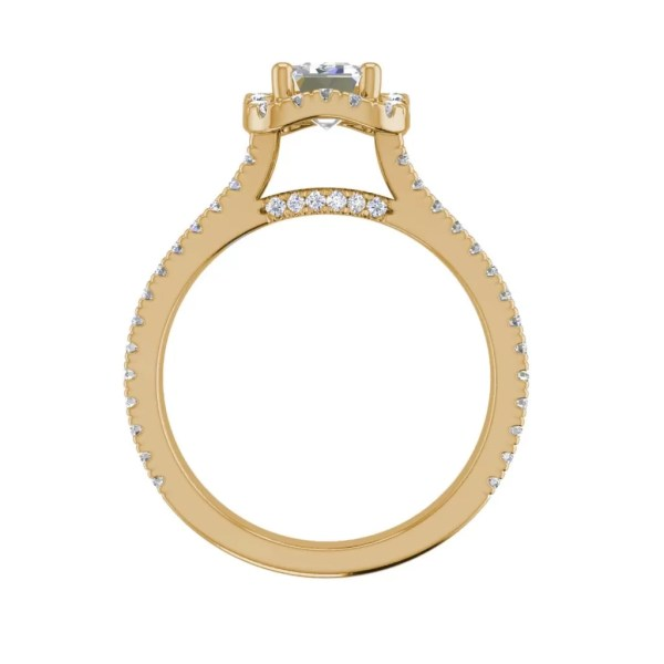 Pave Halo 2.4 Carat VS2 Clarity F Color Emerald Cut Diamond Engagement Ring Yellow Gold 2