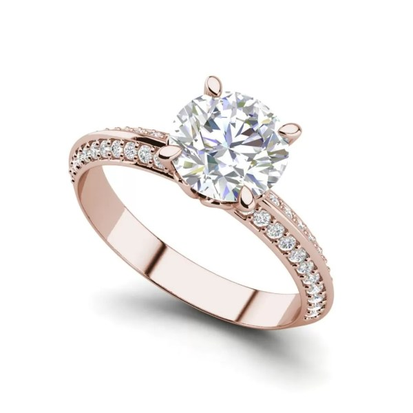 Pave Milgrave 1.35 Carat VS1 Clarity D Color Round Cut Diamond Engagement Ring Rose Gold