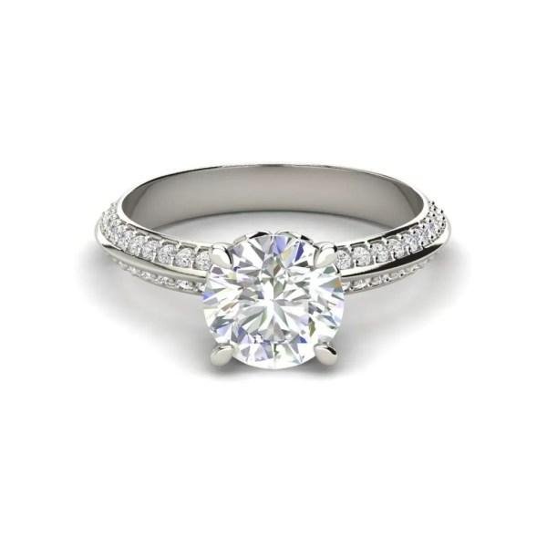 Pave Milgrave 1.35 Carat VS1 Clarity D Color Round Cut Diamond Engagement Ring White Gold 3