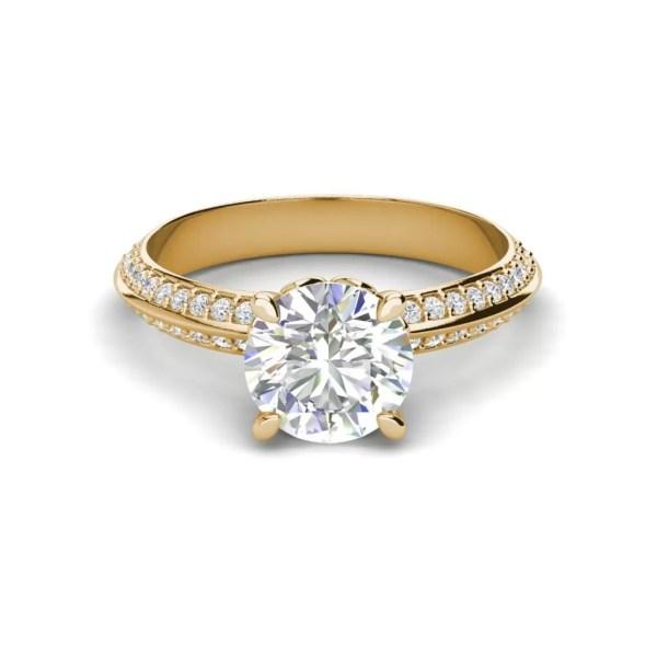 Pave Milgrave 1.35 Carat VS1 Clarity D Color Round Cut Diamond Engagement Ring Yellow Gold 3