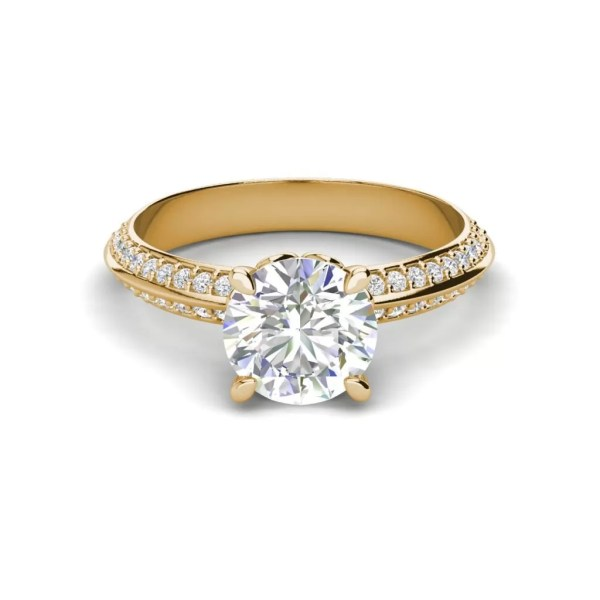 Pave Milgrave 1.35 Carat VS1 Clarity D Color Round Cut Diamond Engagement Ring Yellow Gold 3