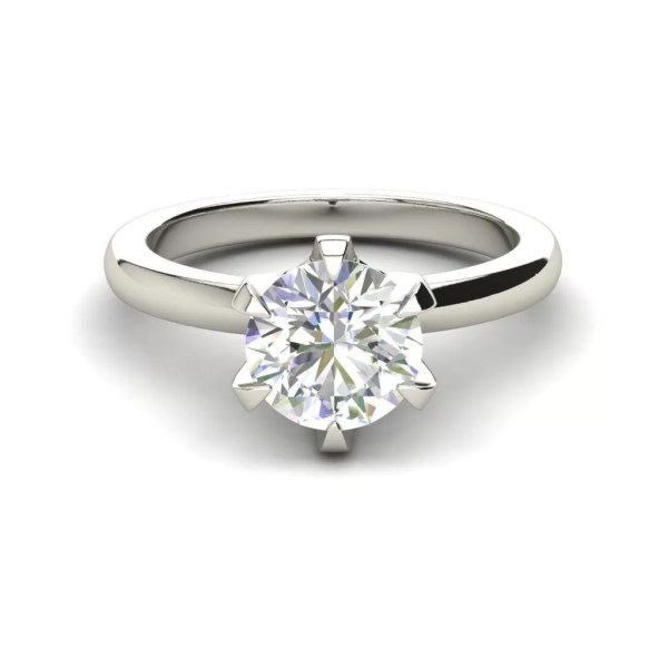Solitaire 0.9 Carat VS2 Clarity D Color Round Cut Diamond Engagement Ring White Gold 3