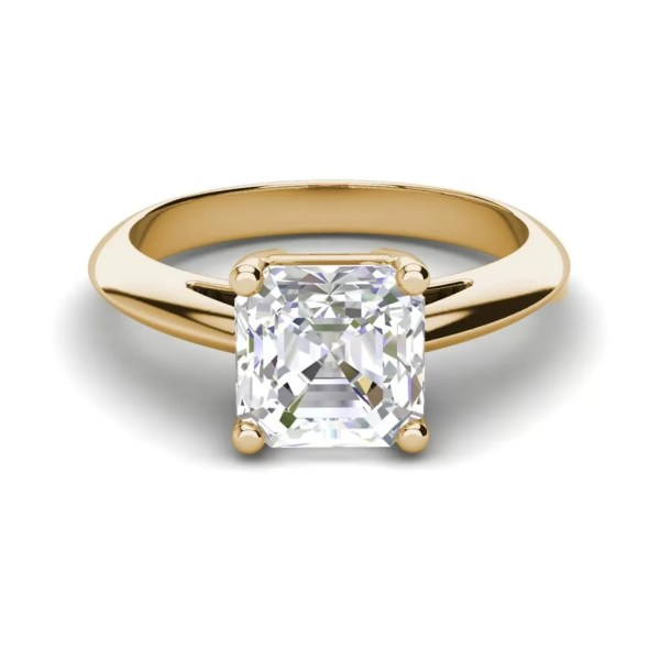 Solitaire 1.5 Carat VS1 Clarity F Color Cushion Cut Diamond Engagement Ring Yellow Gold 3