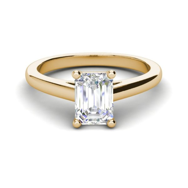 Solitaire 1.75 Carat VS2 Clarity F Color Emerald Cut Diamond Engagement Ring Yellow Gold 3