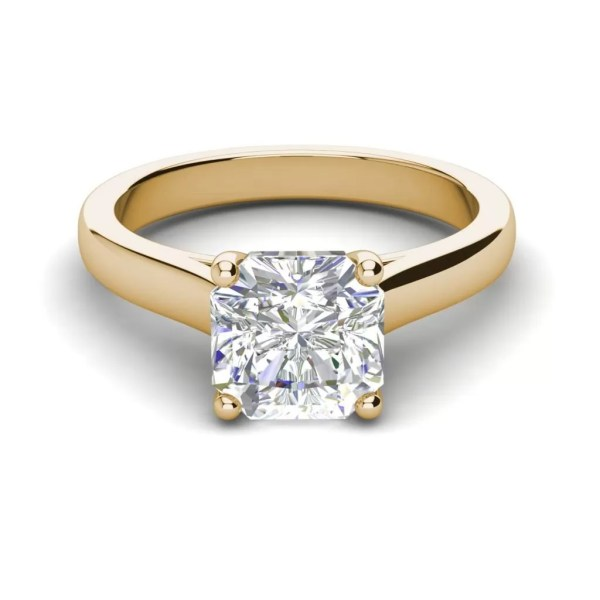 Solitaire 2.25 Carat VS1 Clarity H Color Cushion Cut Diamond Engagement Ring Yellow Gold 3