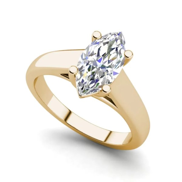 Solitaire 2.5 Carat VS2 Clarity D Color Marquise Cut Diamond Engagement Ring Yellow Gold