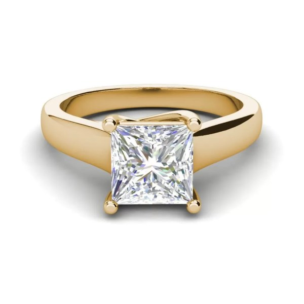 Solitaire 2.75 Carat SI1 Clarity F Color Princess Cut Diamond Engagement Ring Yellow Gold 3
