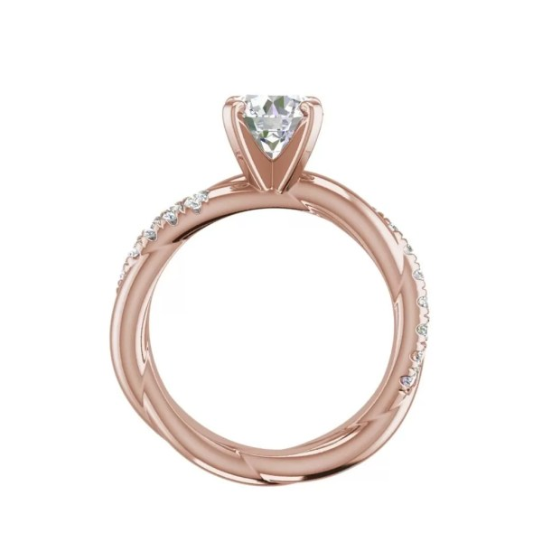 Twist Rope Style 1.75 Carat VS2 Clarity F Color Round Cut Diamond Engagement Ring Rose Gold 2