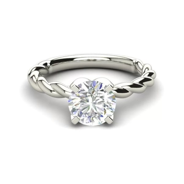 Twist Solitaire 0.9 Carat SI1 Clarity D Color Round Cut Diamond Engagement Ring White Gold 3