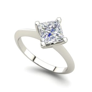 4 Prong 0.5 Carat Princess Cut Diamond Ring White Gold