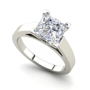 Cathedral 0.9 Carat Princess Cut Diamond Engagement Ring White Gold