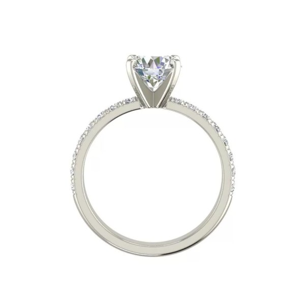 Classic Pave 0.8 Carat Round Cut Diamond Engagement Ring