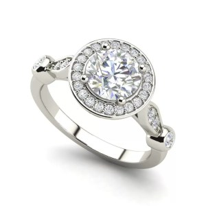Halo 1.6 Carat Round Cut Diamond Engagement Ring