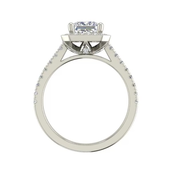 Halo Pave 0.95 Carat Princess Cut Diamond Engagement Ring White Gold