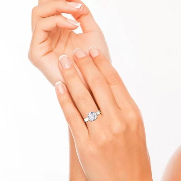 Milgrain 0.5 Carat Round Cut Diamond Engagement Ring