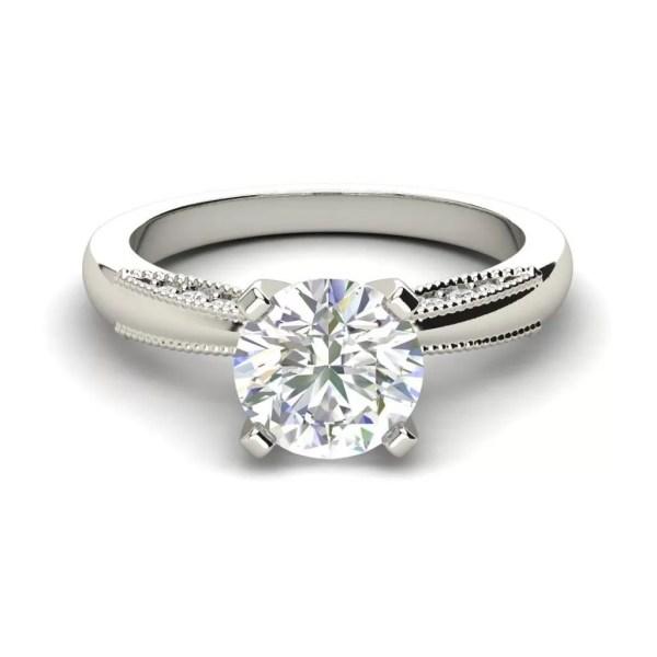 Milgrain Solitaire 0.75 Carat Round Cut Diamond Engagement Ring
