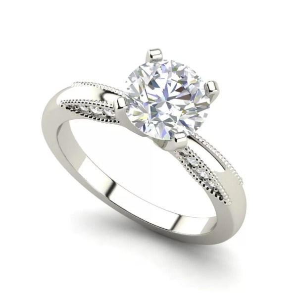 Milgrain Solitaire 0.75 Carat Round Cut Diamond Engagement Ring