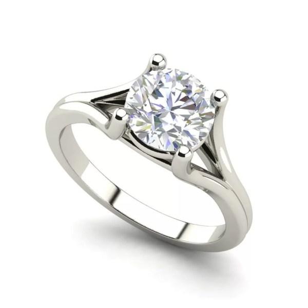 Round Cut 0.5 Carat Split Shank Diamond Engagement Ring