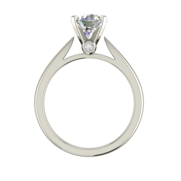 Round Cut 0.55 Carat Cathedral Solitaire Diamond Engagement Ring