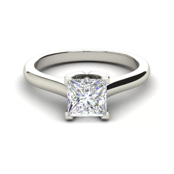 Solitaire 0.5 Carat Princess Cut Diamond Engagement Ring