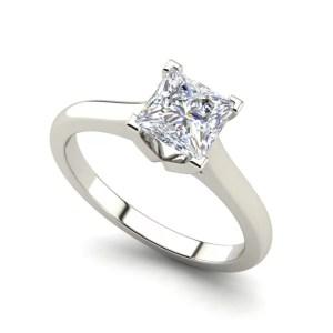 Solitaire 0.9 Carat Princess Cut Diamond Engagement Ring White Gold