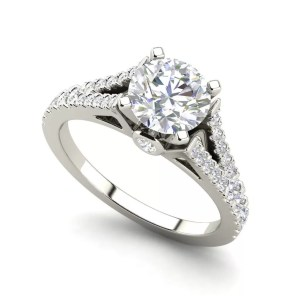 Split Shank 1.25 Carat Round Cut Diamond Engagement Ring