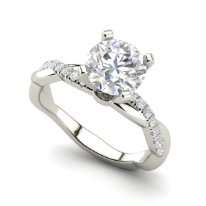 Twist 0.75 Carat Round Cut Diamond Engagement Ring