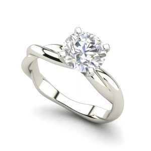 Twist Solitaire 0.5 Carat Round Cut Diamond Ring White Gold