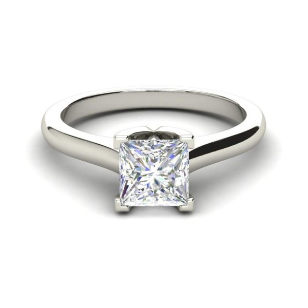 White Gold Solitaire 0.75 Carat Princess Cut Diamond Ring