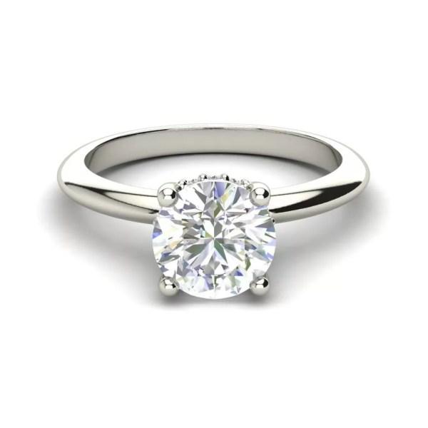 White Gold Solitaire 0.8 Carat Round Cut Diamond Ring