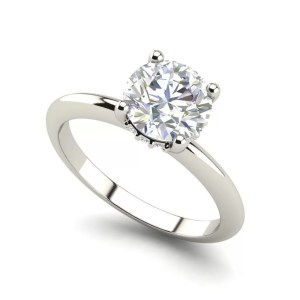White Gold Solitaire 0.8 Carat Round Cut Diamond Ring