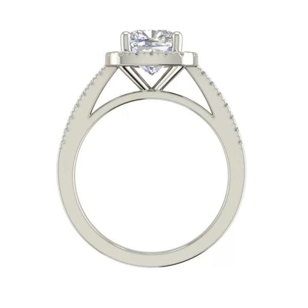 Halo 1.95 Carat Cushion Cut Diamond Engagement Ring
