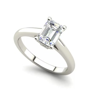 Solitaire 1 Carat Emerald Cut Diamond Engagement Ring