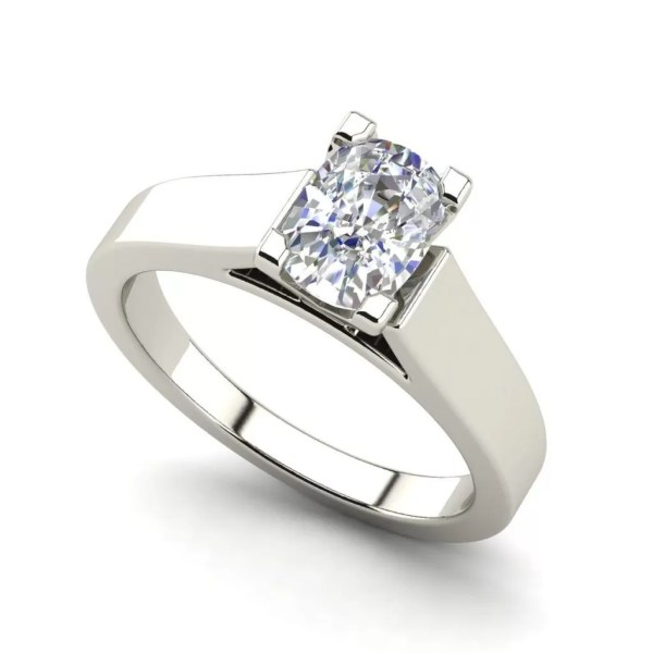 Cathedral 1 Carat Oval Cut Diamond Engagement Ring