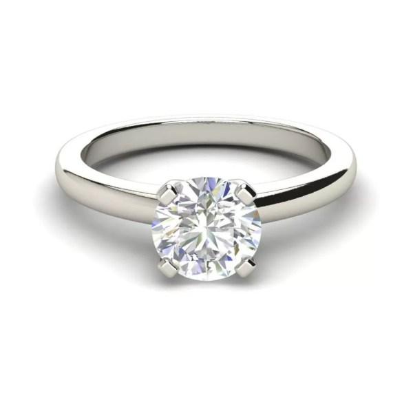 Solitaire 1 Carat Round Cut Diamond Engagement Ring 2