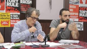 Ghayath Naisse (kiri), pimpinan Revolutionary Left Current, suatu organisasi sosialis revolusioner Suriah