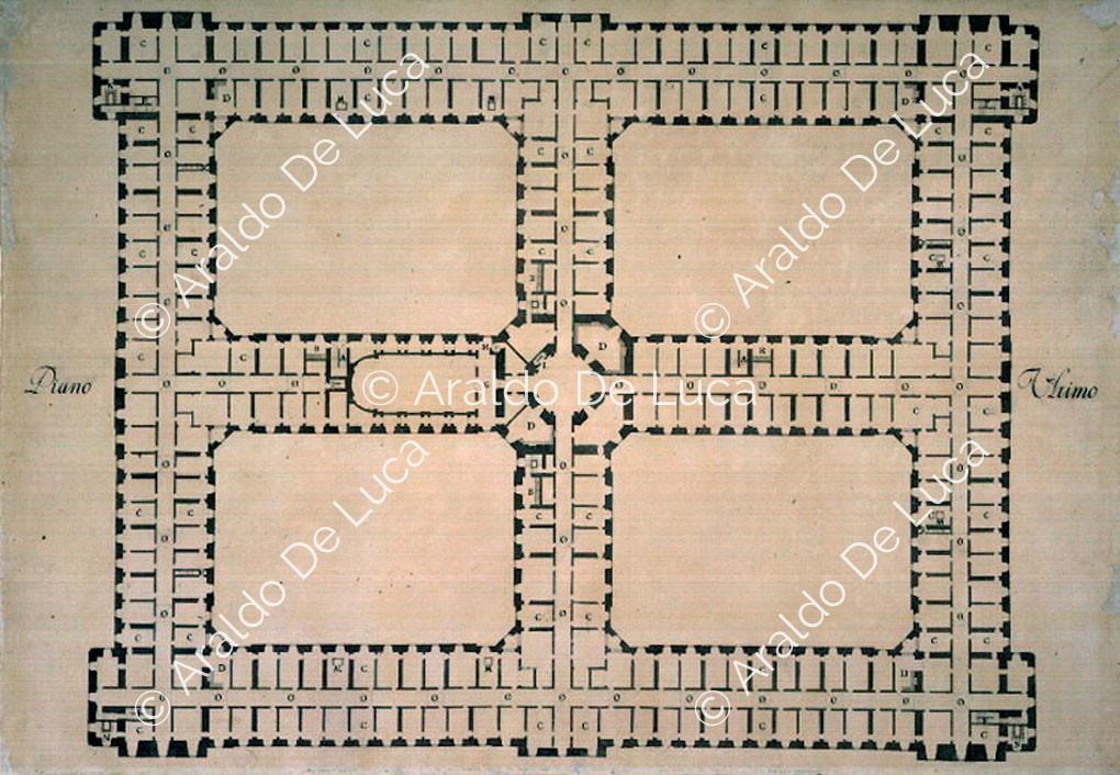 Pianta dellultimo piano della Reggia di Caserta  10700