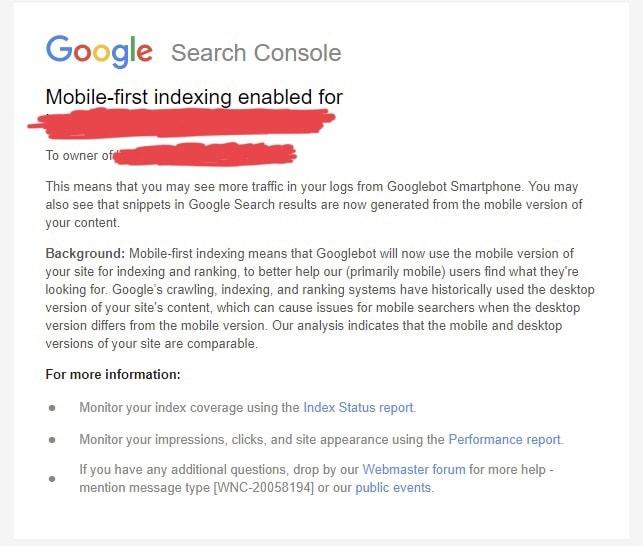 mobil first index bildirim