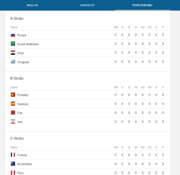 Google FIFA Dünya Kupası Arama Sonuçları