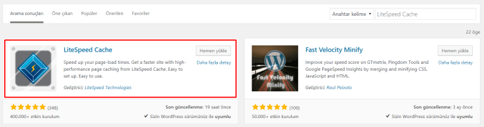 Wordpress LiteSpeed Cache Kurulumu