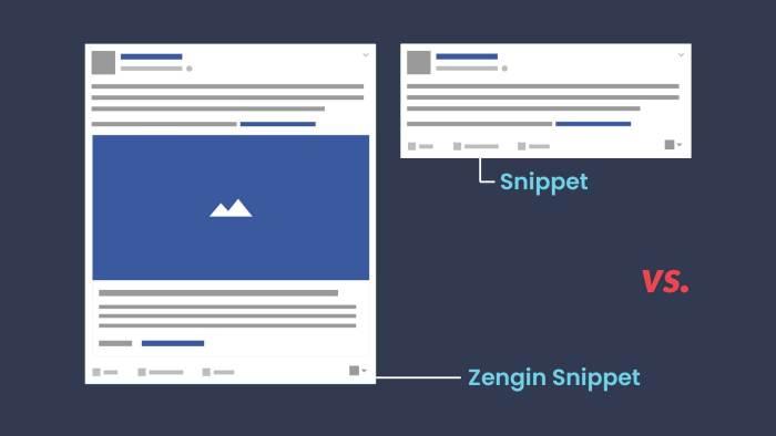 Facebook Açık grafik zengin snippet vs snippet