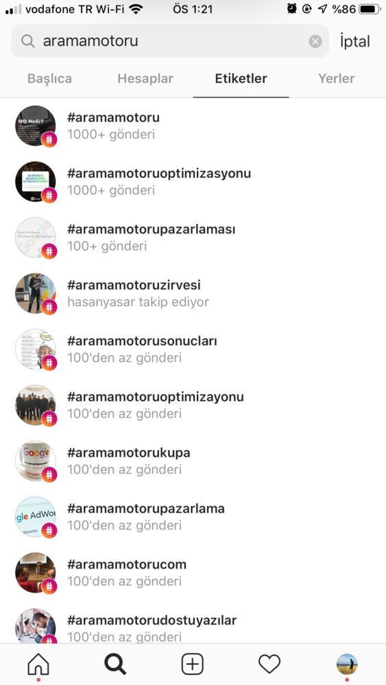 Instagram Popüler Etiketler