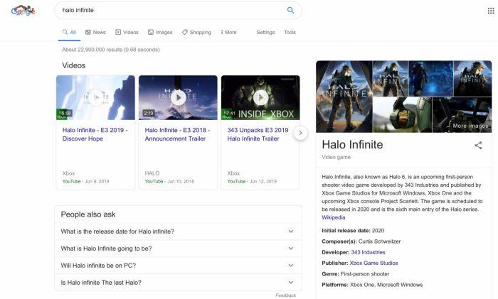 Google video oyunları arama sayfası