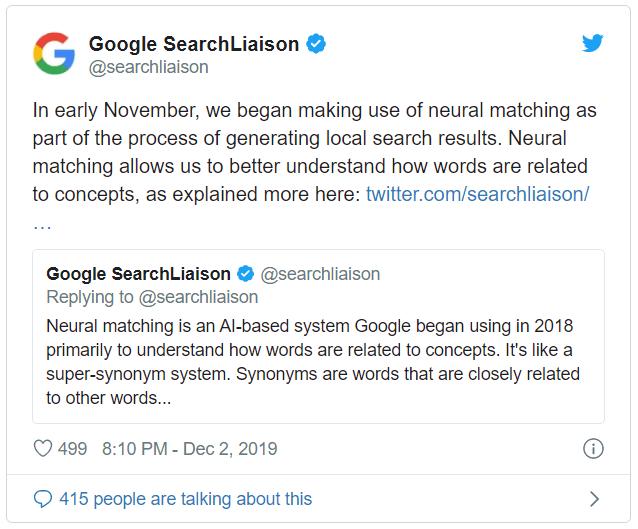 Kasım 2019 yerel arama güncellemesi